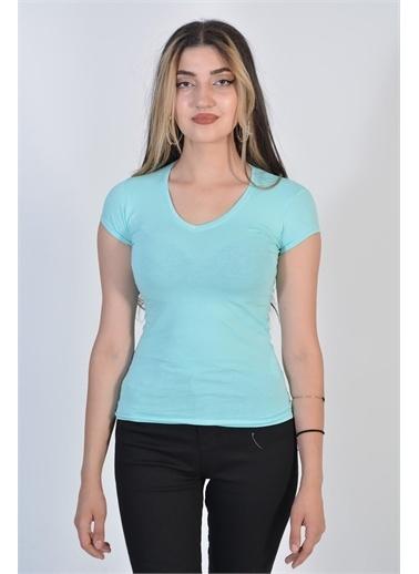 Zeren Kadın Mint Geniş Yaka Kısa Kol Tişört Yeşil